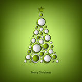 Christmas card with tree of green rings template Royalty Free Stock Photography