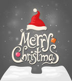 Christmas card with tree, hat and calligraphic on a dark backgro Stock Photo