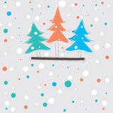 Christmas card with tree .  illustration Royalty Free Stock Photos
