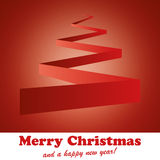 Christmas_Card_Tree_Red. Red background with folded paper in the shape of a christmas tree stock illustration