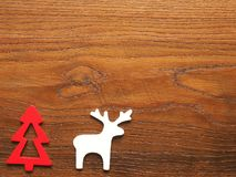 Christmas card with tree and reindeer Stock Photography