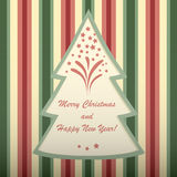 Christmas card with tree shaped frame. Stock Image