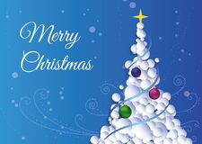 The christmas card with christmas tree on snow background. Royalty Free Stock Photography
