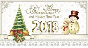 2018 Christmas card with a Christmas tree and snowman. 2018 Christmas card with tree and snowman on snowflakes background Royalty Free Stock Photos
