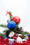 The Christmas card. Christmas tree, stars, gifts and Christmas decorations Royalty Free Stock Image