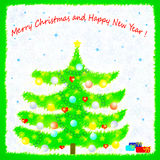 Christmas card with xmas tree Stock Photo