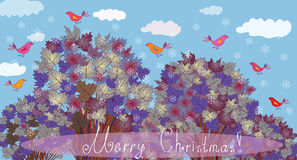 Christmas card with trees Royalty Free Stock Photos