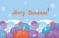 Christmas card with trees funny Stock Photography