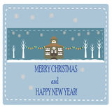 Christmas card with trees and house Stock Images