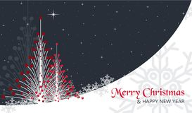 Christmas card with trees, stars and snow. Christmas card, with trees, stars and snow. Black sky, with snow and stars, and two christmas trees Stock Photo