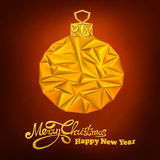 Christmas card with triangle new year decoration sphere Royalty Free Stock Photos