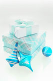 Christmas Card with turquoise x-mas balls and gift boxes Royalty Free Stock Images