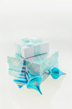 Christmas Card with turquoise x-mas balls and gift boxes Stock Photography