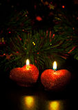 Christmas card with two candles Royalty Free Stock Photos