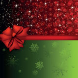 Christmas card. With two color background and a bow Stock Image