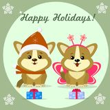 Christmas card with two cute puppy corgi stock illustration