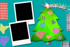 Christmas Card with two frames. Children Christmas Card with two framework, Christmas tree made with paper cuts and fabrics o Royalty Free Stock Photos