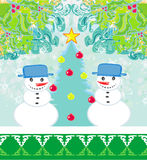 Christmas card with two funny snowmen Royalty Free Stock Photos