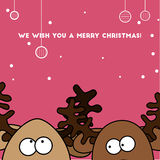 Christmas card Two Jolly colorful reindeer stock photos