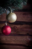 Christmas card with two toy. On a wooden texture Stock Photo