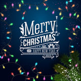 Christmas card with typography design. Royalty Free Stock Photography