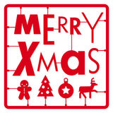 Christmas card, typography letters type font and illustration icons kit Stock Images