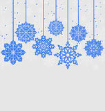 Christmas card with variation snowflakes Stock Photography