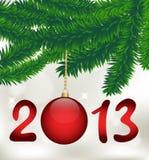 Christmas card, vector. Bright red ball on fir branch, card for Christmas vector illustration