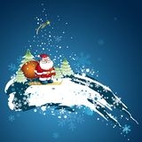 Christmas card, vector. Christmas card  with Santa Claus and snowflakes in the blue sky, vector illustration Royalty Free Stock Photo