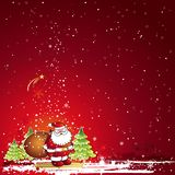 Christmas card, vector. Christmas card  with Santa Claus and snowflakes in the red sky, vector illustration Royalty Free Stock Photography