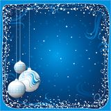 Christmas card, vector. Blue christmas card with balls, vector illustration royalty free illustration
