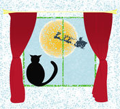 Christmas card vector background with cat Royalty Free Stock Image