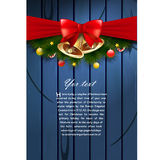 Christmas card. Vector christmas card with bells and ribbon Stock Image