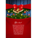 Christmas card. Vector christmas card with bells and ribbon Stock Photos