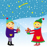 Christmas card vector funny kids Stock Photography