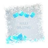 Christmas card. Vector christmas card, handwritten typography, snowflake christmas border. Christmas greeting card royalty free illustration
