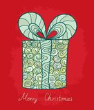 Christmas card. Vector holiday postcard with stylized gift box for your Christmas design Royalty Free Stock Images