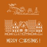 Christmas card. Vector illustration Santa Claus with gifts in sleighs with reindeers and houses. Design for postcard, banner,. Print vector illustration