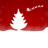 Christmas card. Vector Illustration of santa`s sleigh flying on a winter landscape Stock Image