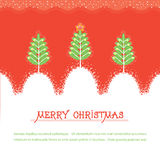 Christmas card.Vector red illusrtration with trees Stock Image
