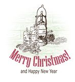 Christmas card vector retro style drawn sketch candles lamp stock image