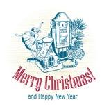 Christmas card vector retro style drawn sketch tree toys nutcracker ballerina house snow stock image