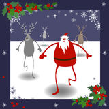 Christmas card. Christmas vector card with Santa, deers and holly Royalty Free Stock Image