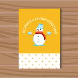Christmas card with a vector snowman in a hat and scarf Royalty Free Stock Photography