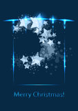 Christmas card, vector template. Star background stock illustration