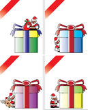 Christmas card vector template; giant gifts Stock Images