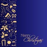 Christmas card with vertical border of winter symbols. Golden silhouettes of a snowman, gift, holly, poinsettia, Santa cap on a da stock photography