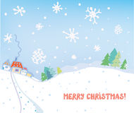 Christmas card with village, houses, forest Stock Photos