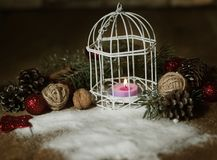 Christmas card.vintage Christmas candle on festive background . Photo with copy space Stock Images