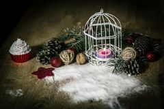 Christmas card.vintage Christmas candle on festive background . Photo with copy space Royalty Free Stock Images